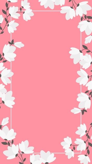 白い花とフレームを持つ携帯電話の背景 無料ベクター