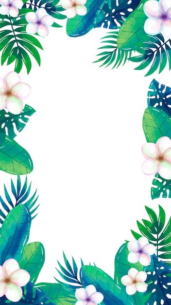 Мобильные обои с тропическими цветами Бесплатные векторы