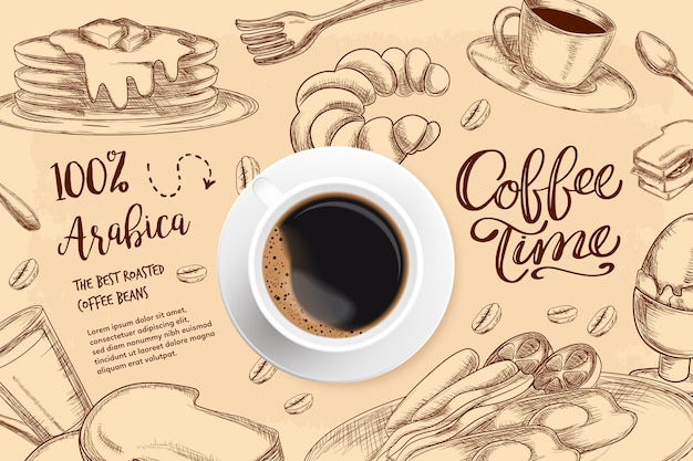 Реалистичная кофейный фон с рисунками Бесплатные векторы