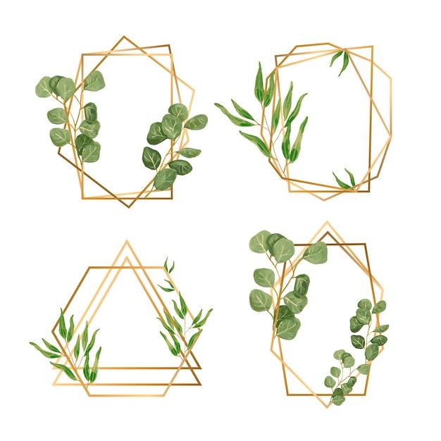 Золотые рамки с листьями для свадебного приглашения Бесплатные векторы
