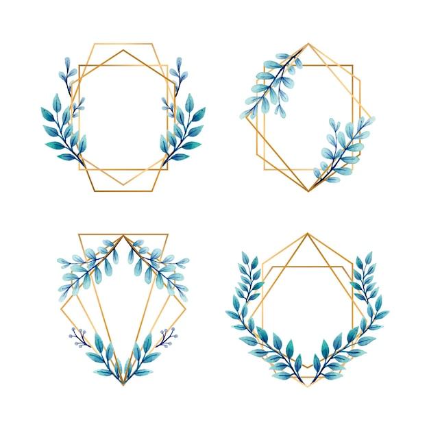 結婚式招待状の青い葉とゴールデンフレーム 無料ベクター