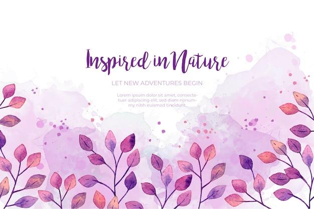 水彩紫葉フレームの背景 無料ベクター