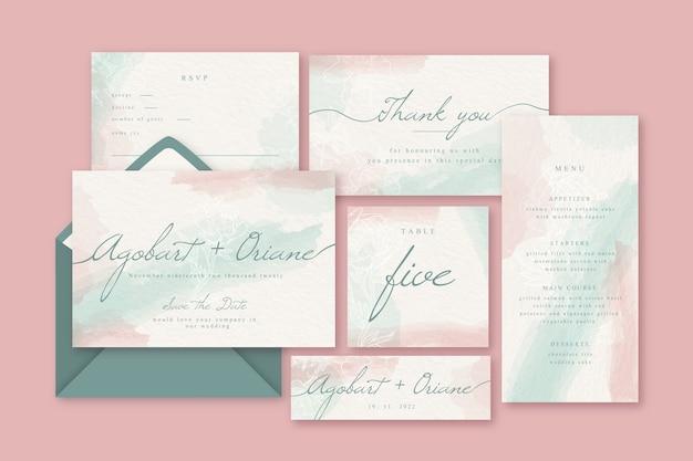 文房具の結婚式の招待状のコンセプト 無料ベクター