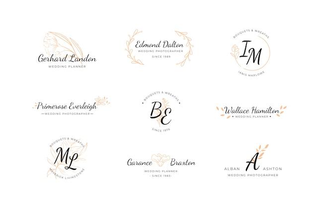 結婚式のロゴのコレクション 無料ベクター