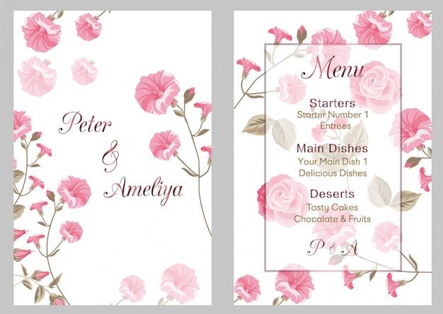 新しいモダンな結婚式の招待状 Premiumベクター