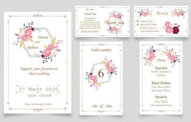 新しいモダンな結婚式の水彩画の招待状 Premiumベクター