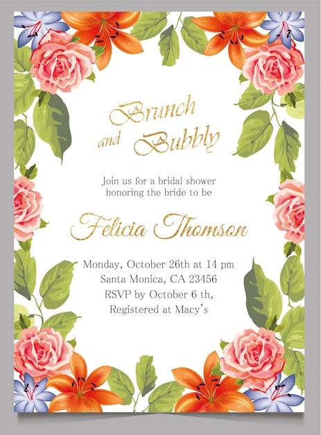 ブライダルシャワーの招待状カード、ブランチと花と陽気な招待状 Premiumベクター