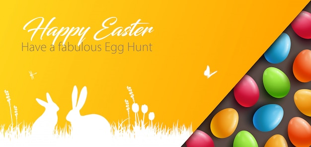 カラフルな卵とイースターの背景 Premiumベクター