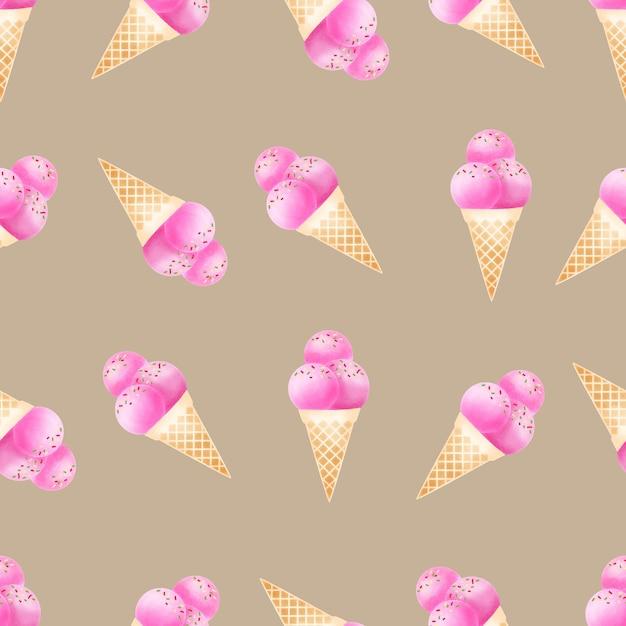 水彩のかわいいアイスクリームコーンのシームレスパターン Premiumベクター