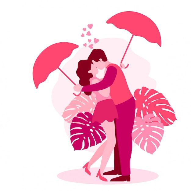 かわいいロマンティックカップルバレンティン Premiumベクター