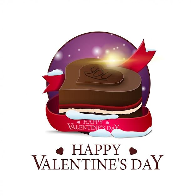 バレンタインデーラウンドバナー、チョコレートキャンディー Premiumベクター