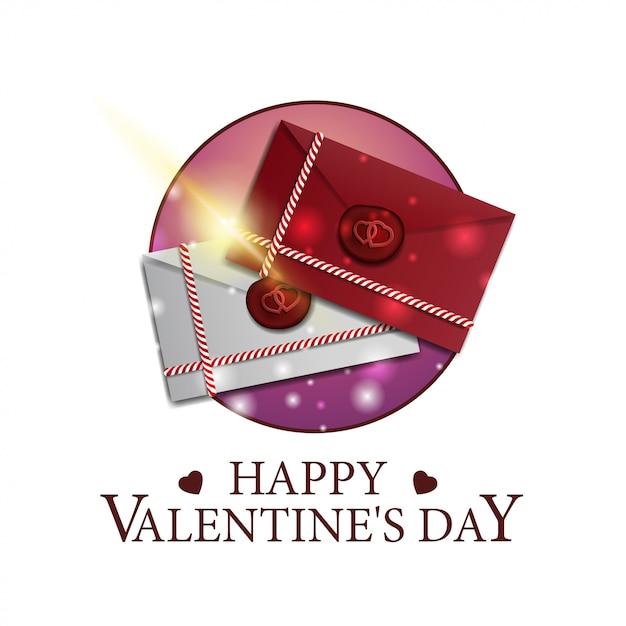 愛の手紙とバレンタインデーラウンドバナー Premiumベクター