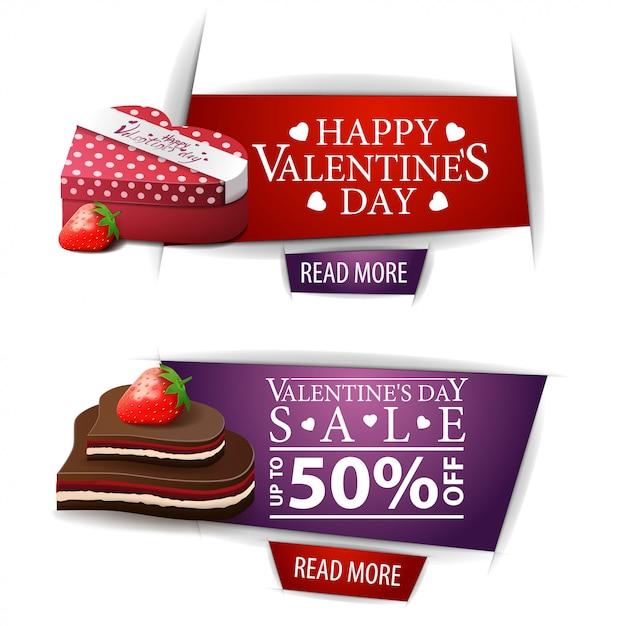 ボタン、ギフト、チョコレート菓子とバレンタインデーのバナー Premiumベクター