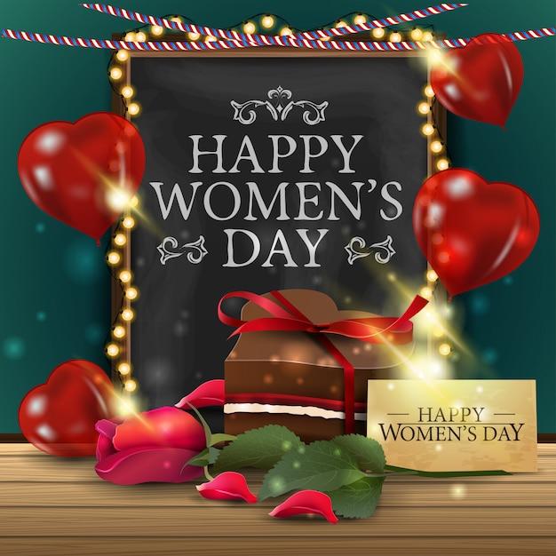 黒板と女性の日のグリーティングカード Premiumベクター