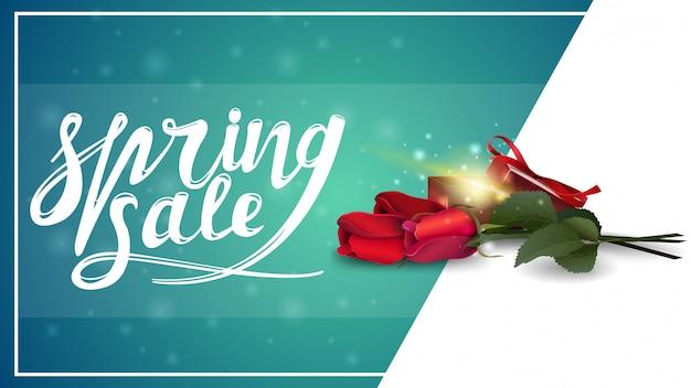 春のセール、ギフトとバラと割引バナーのテンプレート Premiumベクター