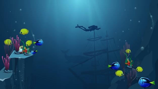 水中の世界、ダイバーとベクトル図 Premiumベクター