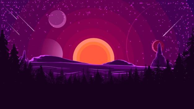 Пейзаж с закатом за горами Premium векторы