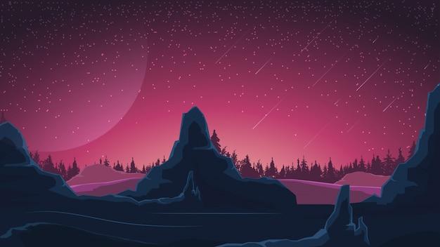 Космический пейзаж в фиолетовых тонах Premium векторы