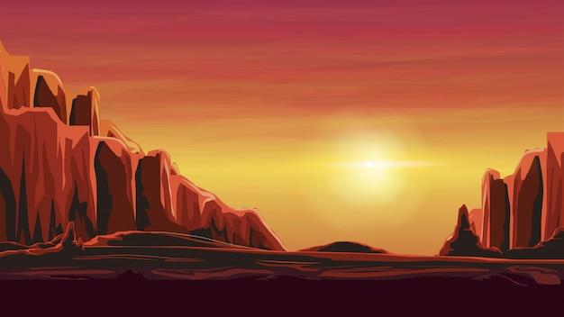 暖かいオレンジ色の砂浜の渓谷の日の出 Premiumベクター