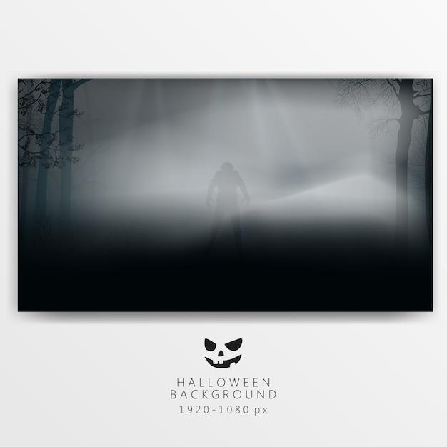 暗い森と霧と狼男 Premiumベクター
