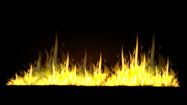 黒の背景に現実的な火の炎 Premiumベクター