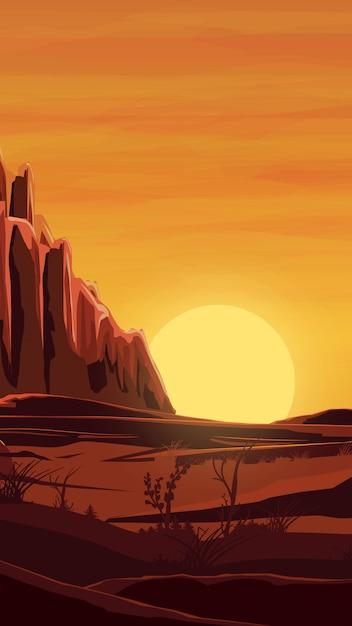 Пустыня, оранжевый закат, горы, песок Premium векторы