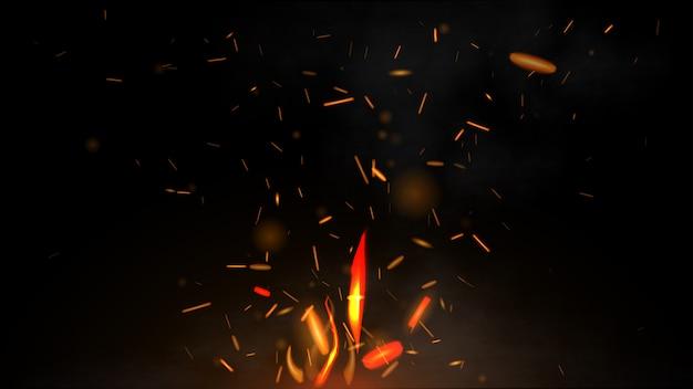 Огонь летящих искр на черном фоне Premium векторы