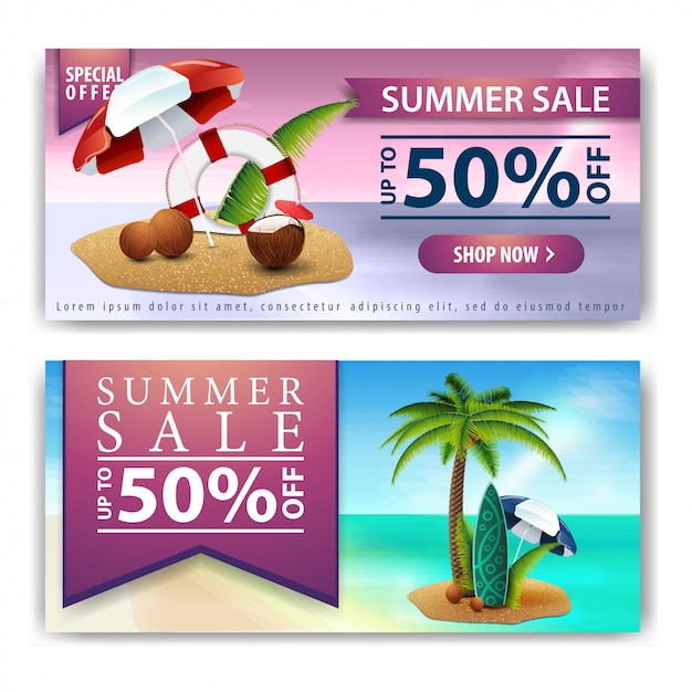 Летняя распродажа, два горизонтальных баннера скидок для вашего бизнеса Premium векторы