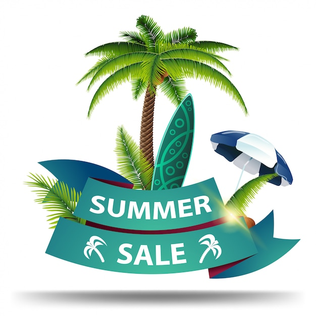 Летняя распродажа, скидка веб-баннера в виде лент для вашего бизнеса Premium векторы