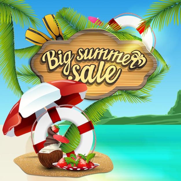 Большая летняя распродажа, веб-баннер с деревянным знаком с морским декором Premium векторы