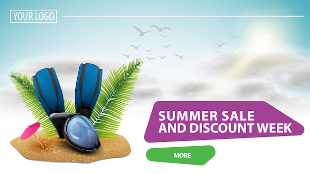 サマーセールとディスカウントウィーク、あなたのウェブサイトにクリック可能なウェブバナー Premiumベクター