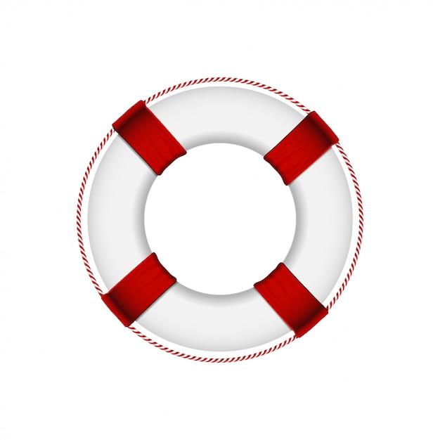 Спасательный круг на белом фоне Premium векторы