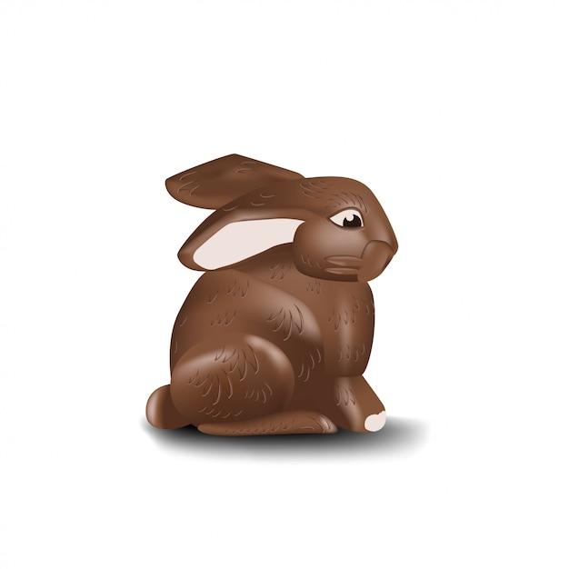チョコレートバニーの白い背景で隔離 Premiumベクター