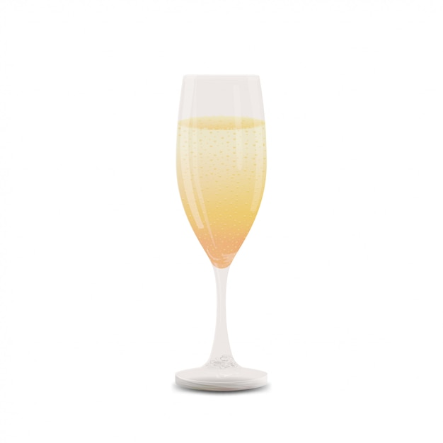 Бокал шампанского, изолированные на белом Premium векторы