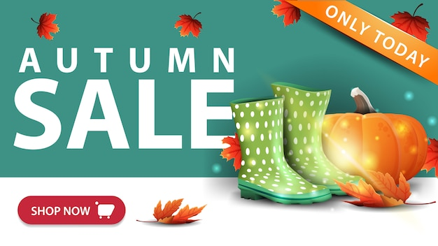 秋の販売、ボタンとモダンな緑の割引バナー Premiumベクター