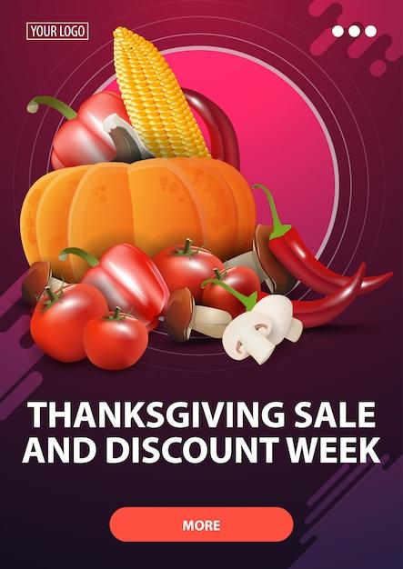 Неделя распродажи и скидки на день благодарения, розовый вертикальный баннер со скидкой с осенним урожаем Premium векторы