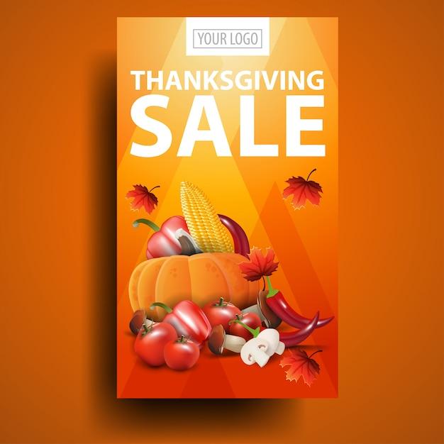 Распродажа в день благодарения, современный оранжевый вертикальный баннер со скидкой с осенним урожаем Premium векторы