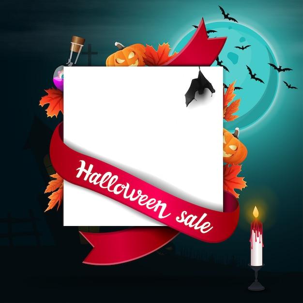 Хэллоуин распродажа, шаблон для баннера скидка в виде листа бумаги с декором хэллоуин, Premium векторы