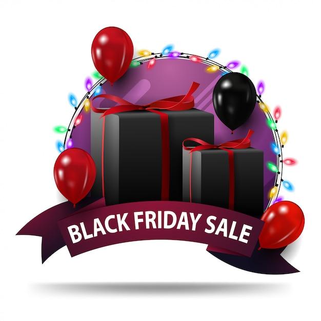 Черная пятница продажа, фиолетовый круглый баннер Premium векторы