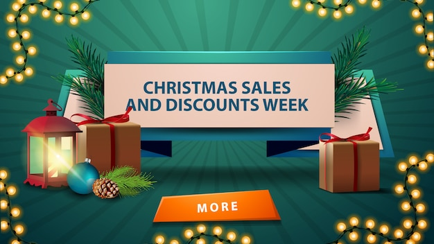 クリスマス販売バナーと割引週、プレゼント、ビンテージランタン、コーンとクリスマスボールとクリスマスツリーブランチの割引リボン Premiumベクター