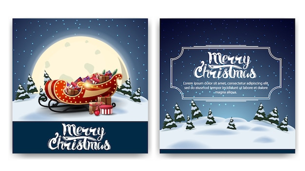 漫画の冬の風景とクリスマス広場両面はがき Premiumベクター