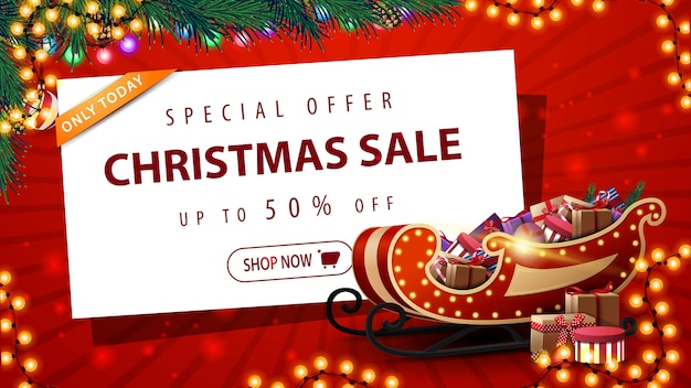特別オファー、クリスマスセール、美しい赤い割引バナー Premiumベクター