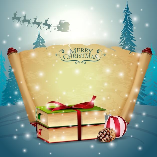 Комплект пергамента с рождественской книгой Premium векторы