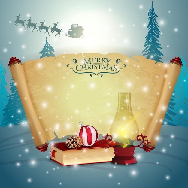 Набор пергамента со старым фонарем и рождественской книгой Premium векторы