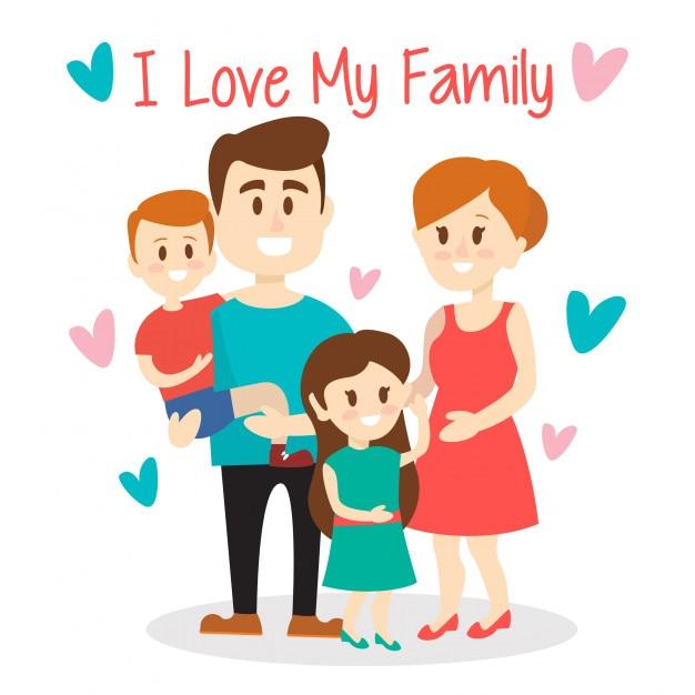 私は家族がかわいいイラストが大好き ベクター画像 プレミアムダウンロード
