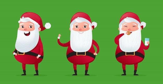 幸せなクリスマスキャラクターかわいいサンタクロースセット。 無料ベクター
