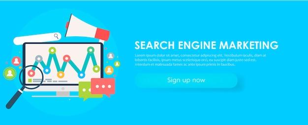 検索エンジンマーケティングのバナー。オブジェクト、図、ユーザーアイコンを持つコンピューター。 無料ベクター