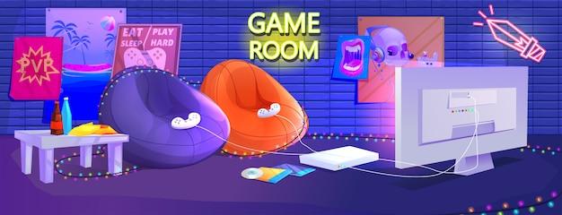 ティーンゲームルームのインテリア 無料ベクター