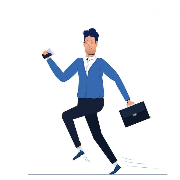 キャラクターは仕事に走っている男です。朝のビジネスマンはコーヒーと行きます 無料ベクター