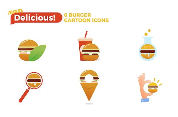 ハンバーガー漫画アイコンセット 無料ベクター